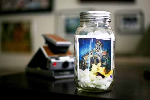 Lighted Mason Jar featuring a Polaroid of Van Goghs Church at Auvers (batteries included)