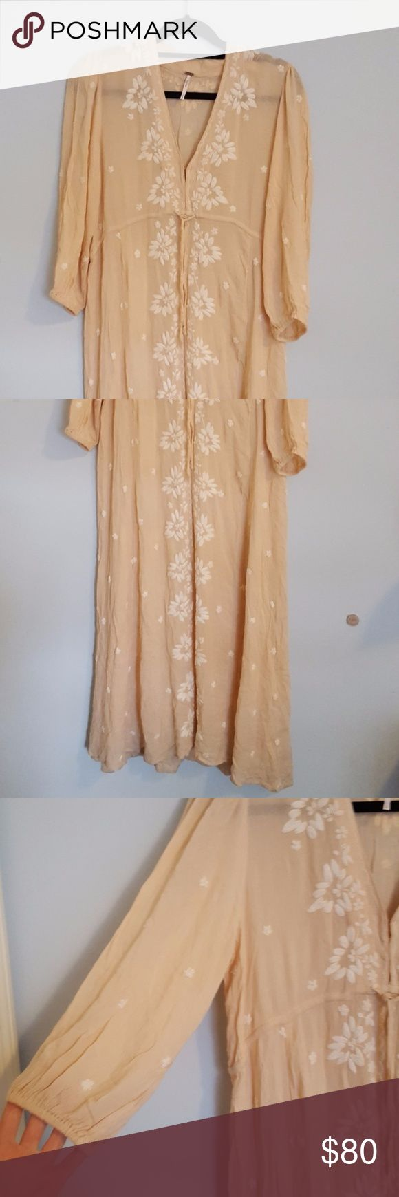 Free people boho maxi dress Peach maxi dress from free people. Floral embroidery. 100% rayon. adjustable tie waist Free People Dresses Maxi
