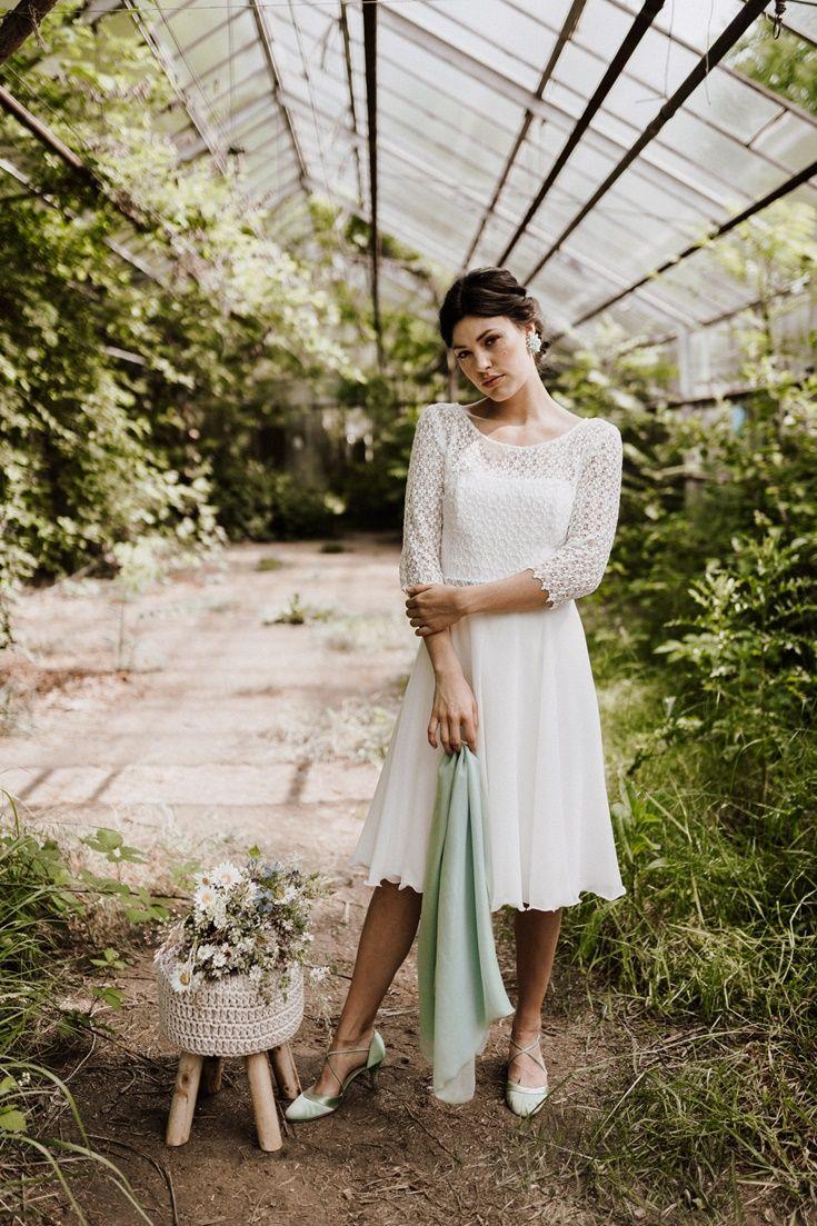 Brautkleid lange Ärmel: Kurz & mit Spitze  Brautkleid kurz