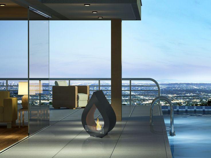 Biochimenea modelo Atenea. Diseño moderno con imitación a la llama de una vela..... Ideal para exteriores