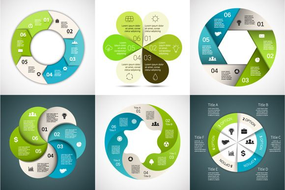 Infographics for 6 options. Set 3 by theseamuss on Creative Market