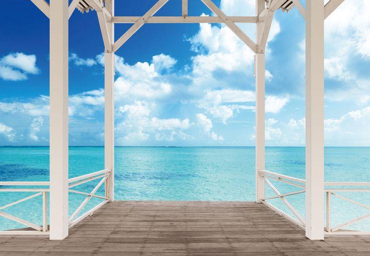 Fototapete terrasse karibik s dsee meer blick 254x366 xxl for Terrasse 3d