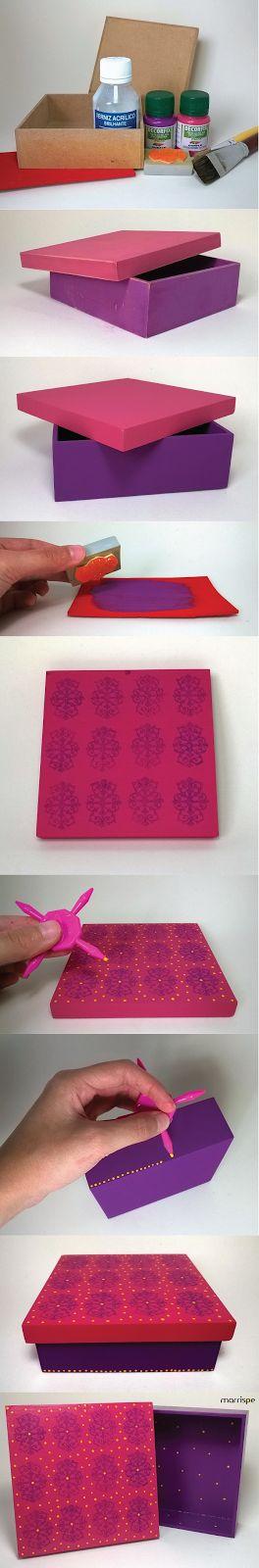 Passo-a-passo caixa em mdf decorada com carimbo de arabesco e bolinhas #artesanato #decor #organização #caixa #mdf #madeira #decoração #artesanal #pap #diy #tutorial #passoapasso #façavocemesmo #handmade #feitoamao #bolinhas #poa #arabesco #carimbo #marrispe