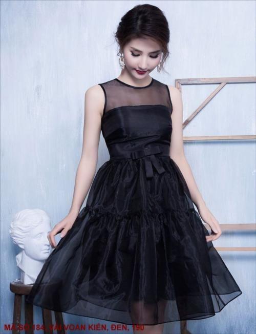 Đầm diễm my ren lưới sát nách màu đen xinh xắn