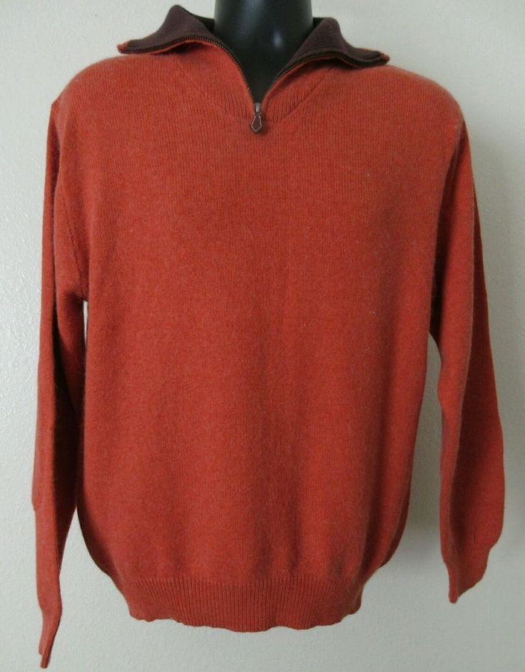 DANIEL CREMIEUX Burnt.Orange Rabbit Hair Blend 1/2 Zip Sweater Jacket Mens L #DanielCremieux #12Zip