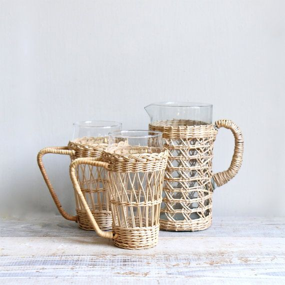 Vintage Mid Century Wicker Carafe and Glass Set / by ethanollie    Too cute. I love to have them!