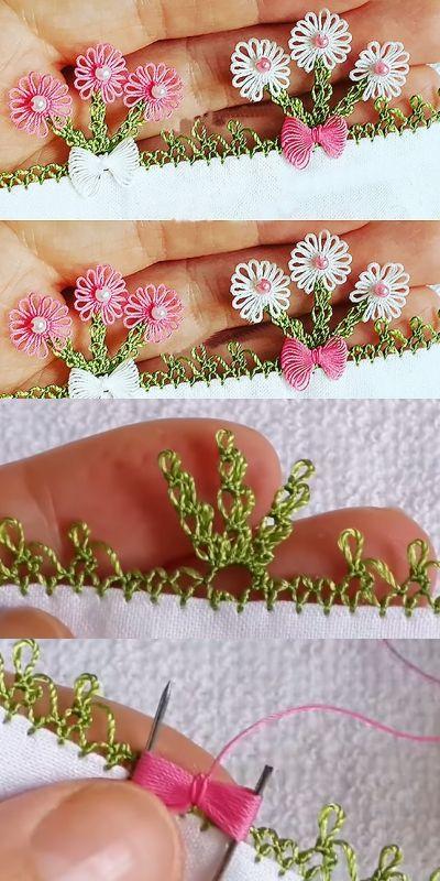 Çiçek Açan Boncuklar İğne Oyası Modeli