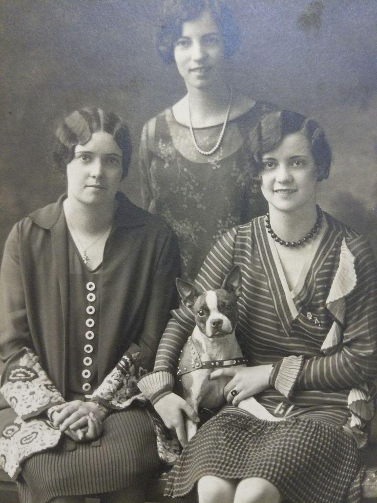 French bulldog boston terrier dog 1920 women vintage