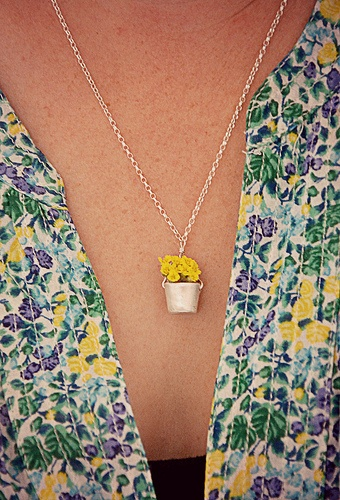 silverpebble - a pail necklace for wearing tiny flowers in!
