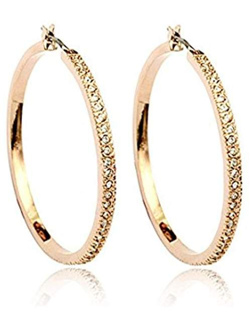 Golden Big Hoop Fashion Earrings 18K Gold Plated Studded With Cubic Zircon Made With Swarovski Elements