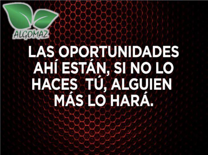Las oportunidades ahí están, si no lo haces tú, alguien más lo hará