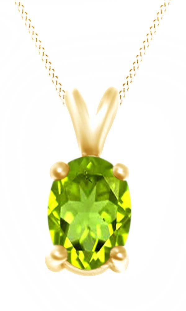 Oval Cut Solitaire Peridot August Birthstone Pendant Necklace In 10K Yellow Gold (4 Cttw). Adds A Touch Of Nature-Inspired Beauty To Your Look Oval Cut Solitaire Pendant Necklace In 10K Yellow Gold Makes a Standout Addition to Your Collection with 4 Carat August Birthstone Peridot. Gold is a dense, soft, shiny, malleable, and ductile metal, Gold is a synonym for wealth and money even though in the modern world it is neither. Perfect gift idea for Christmas, party, wedding, engagement...
