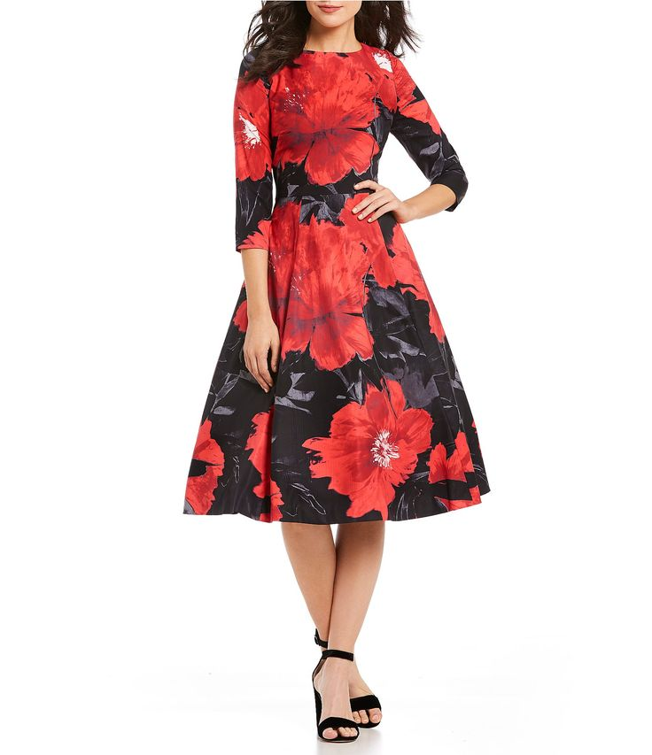 Kay Unger Floral Midi Dress #Dillards