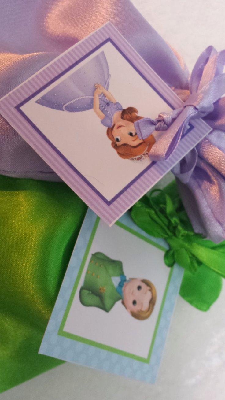PARTY PACK Sets of 6 to 12 - Sofia the First and Prince James Favor Bags (Filled) by TeatotsPartyPlanning on Etsy