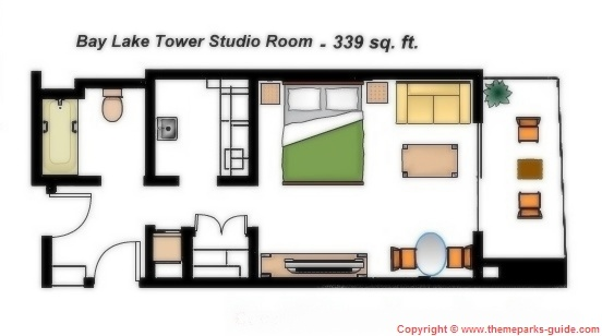 Bay Lake Tower At Disney 39 S Contemporary Resort Studio Room Floor Plan 339 Sq Ft Disney
