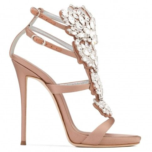 Giuseppe ZanottiBlush satin sandal with 'Cruel' crystals accessory CRUEL SPARKLE