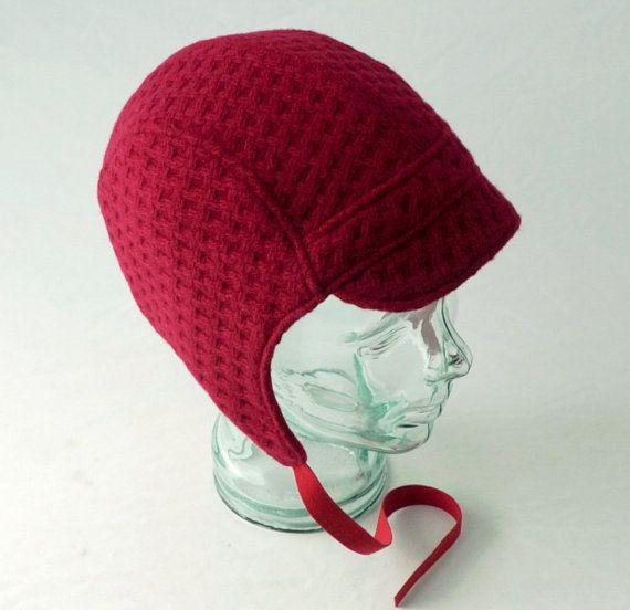 Cappello aviatore in cesto rosso WeaveWool donne di rocksandsalt, $68.00