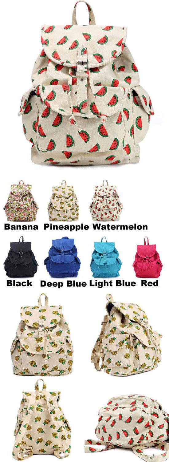 Which color do you like? Lovely Fruits Printing Banana Pineapple Watermelon Girl's Canvas School Backpack #lovely #canvas #banana #fruits #pineapple #school #college #Backpack #bag