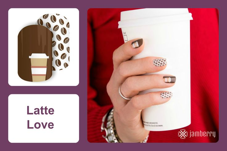 Featuring coffee beans and latte cups, this darling mixed-mani, 'Latte Love', is any latte lovers best accessory! #bevsjamminnails https://bkimball.jamberry.com/us/en/shop/products/latte-love#.VxfIg_krJQI