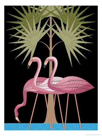 Three Pink Flamingos Premium Poster