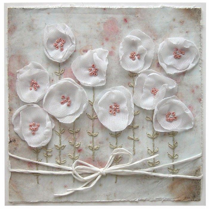 Přání textilní koláž Kvítí : Ostatní přání do obálky : Prodej přáníček : Originální ruční přáníčka