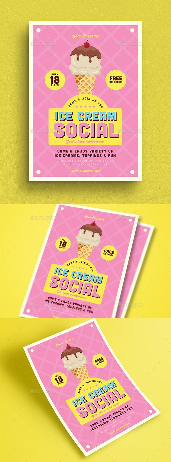 Ice Cream Social Flyer Design Template PSD, AI Illustrator. Download here: graph...