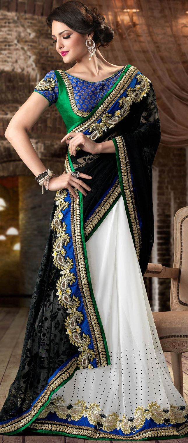 Black and White Brasso Faux Georgette Saree With Blouse @ $118.37