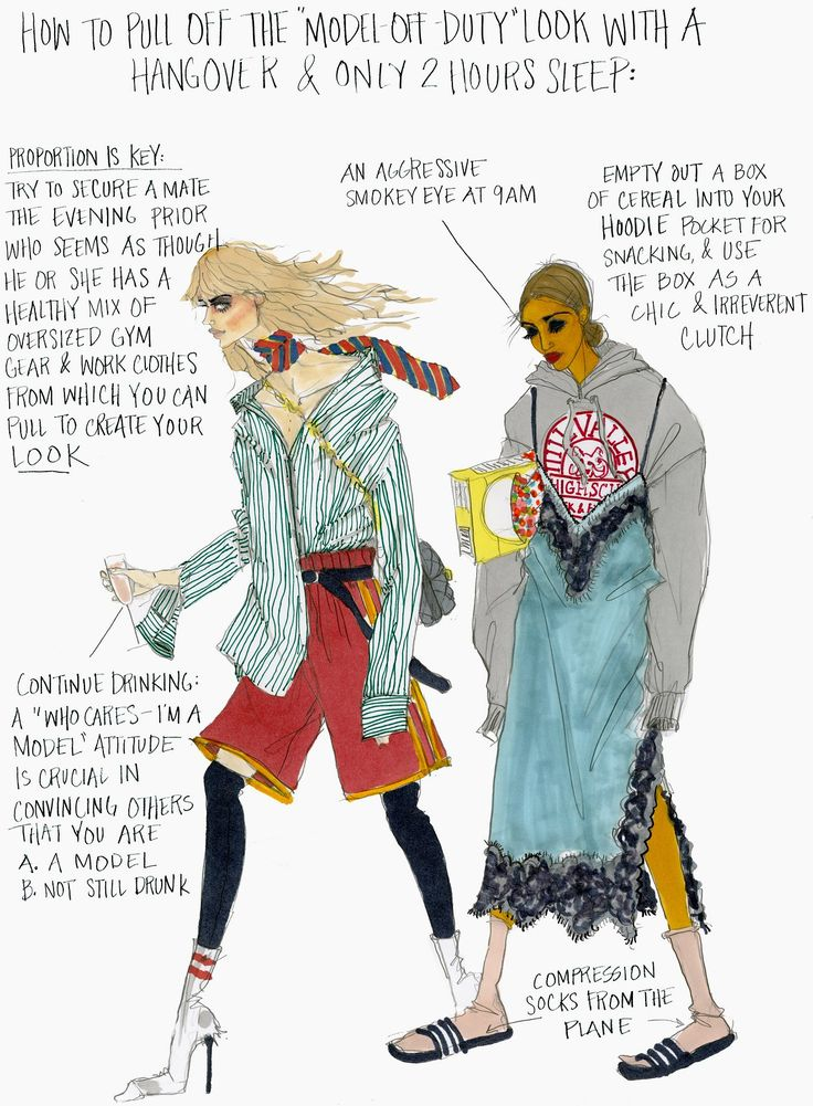 NYFW: Model Off Duty Illustration by Julie Houts for Stylebop