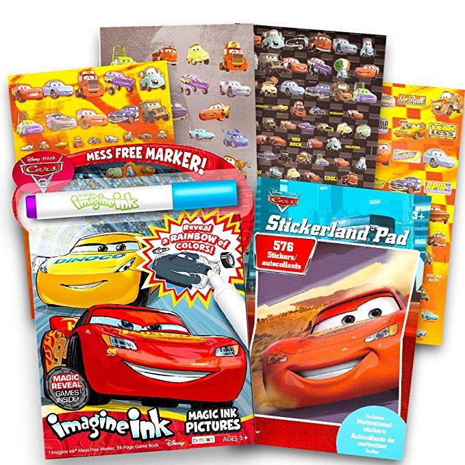 Disney Cars No Mess Coloring Set For Toddlers Kids Mess Free Coloring Book With Magic Pen And O Disney Car Stickers Disney Cars Characters Coloring Book Set