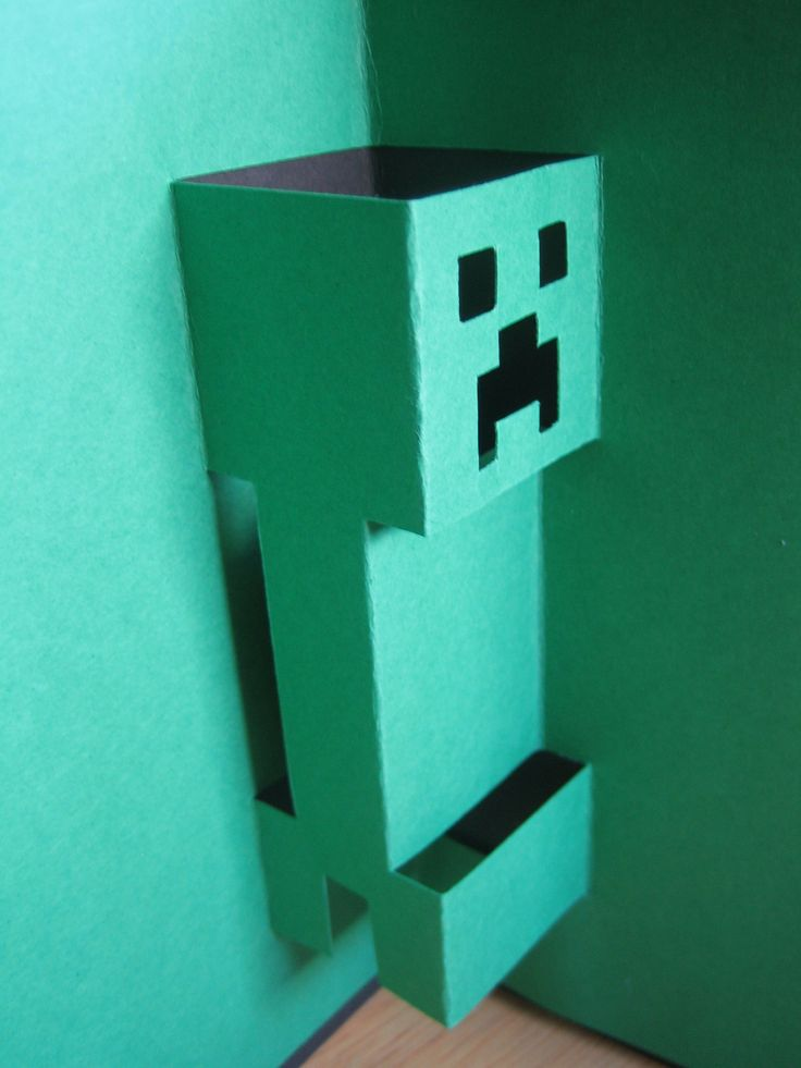 Pop up card of creeper #popup #happybirthday #creeper # ...
