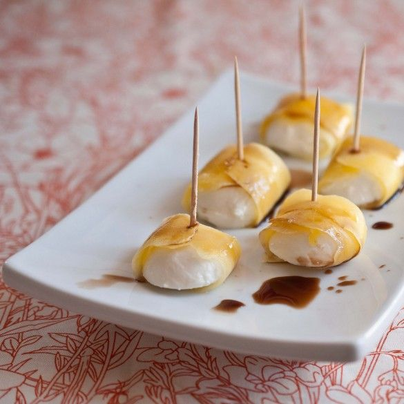 Mango Wrapped Mozzarella. Only three ingredients. Keep the ingredients on hand and wow unexpected guests with this simple bite. ****