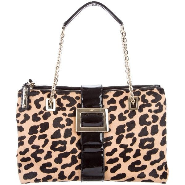 Pre-owned Roger Vivier Leopard Print Ponyhair Tote ($450) ❤ liked on Polyvore featuring bags, handbags, tote bags, animal print, man tote bag, leopard purse, leopard print tote, white tote and handbags totes