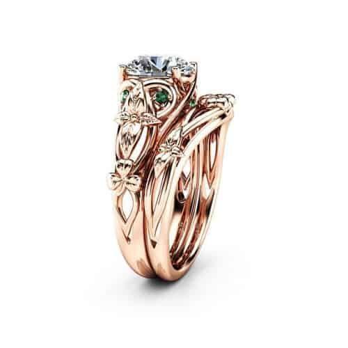 Moissanite Shamrock Celtic Knot Engagement Ring Set Celtic Engagement Rings Celtic Knot Engagement Ring 14k White Gold Engagement Rings
