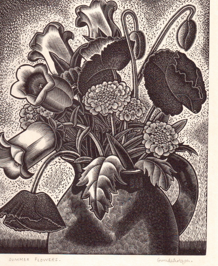 "Gwenda Morgan (1908-1996) ""Summer Flowers"" wood engraving. Signed, titled and numbered 4/50. 215 X 175 mm."
