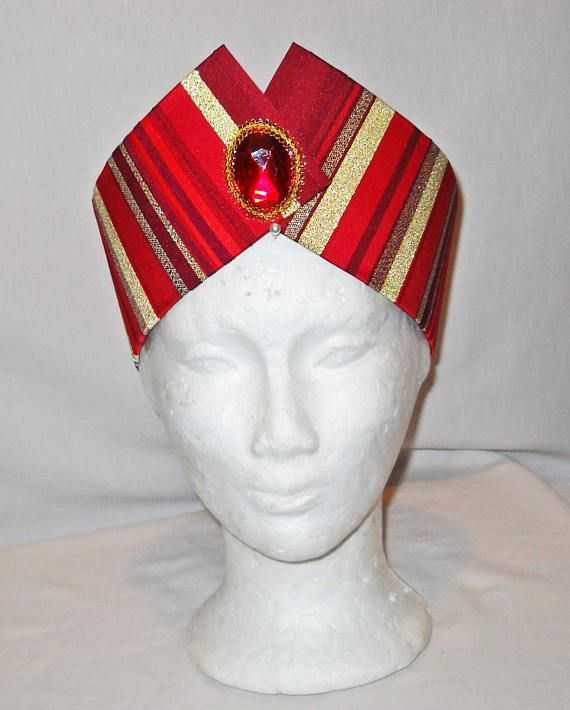 Red and Gold Wise Man Magi Nativity Costume Headpiece Crown