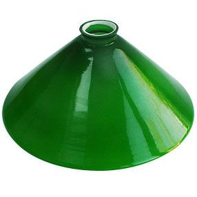 "Drugstore over bar: Glass version better! ""Coolie Lamp Shade in green glass    """