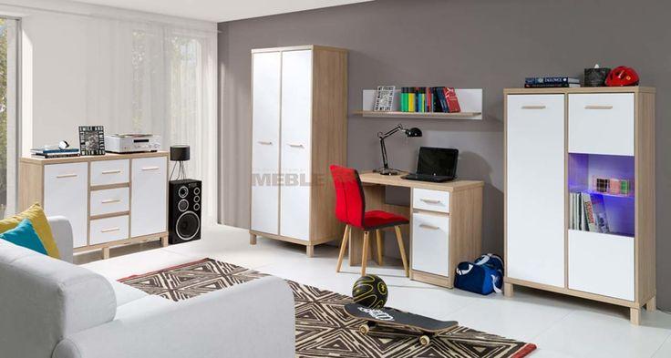 Zestaw mebli do pokoju młodzieżowego w stylu skandynawskim dąb bursztynowy + biel arktyczna - Meble DUDA - sklep meblowy Meble BIK