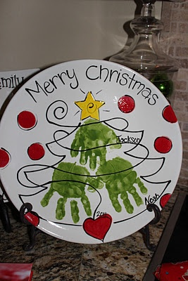 Use your children's handprints on a plate to create an heirloom that you can get out each holiday. Also makes a great gift!