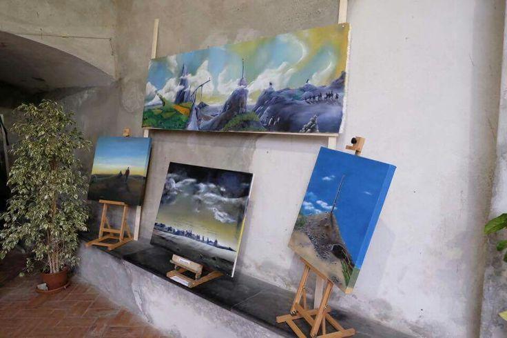 Miei dipinti sul cammino di santiago,  esposti presso il complesso monumentale della chiesa di Santa Maria di castello a Genova.