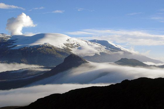 The majestic Nevado del Ruiz in the Los Nevados National Park, Colombia