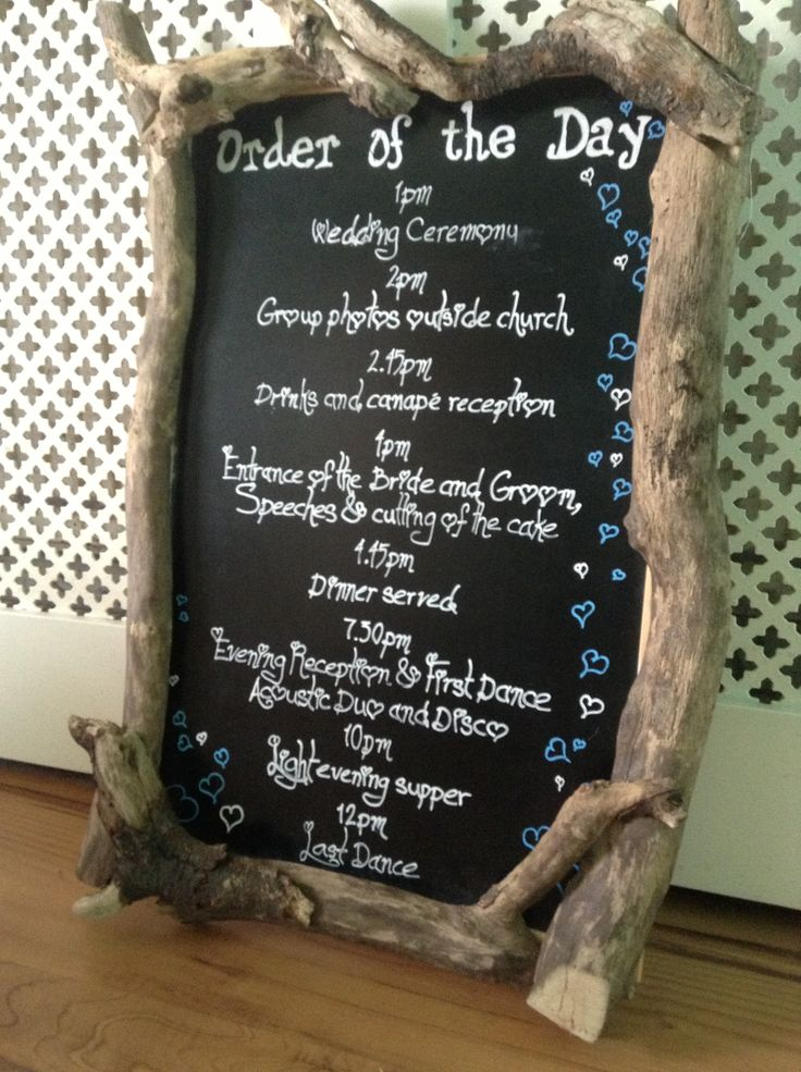 Rustic Driftwood Order Of The Day Blackboard