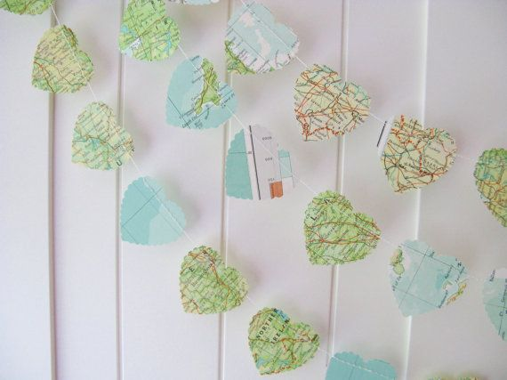 Map heart garland...maybe draped from tree branches