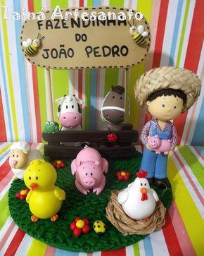 Topo de bolo Fazendinha