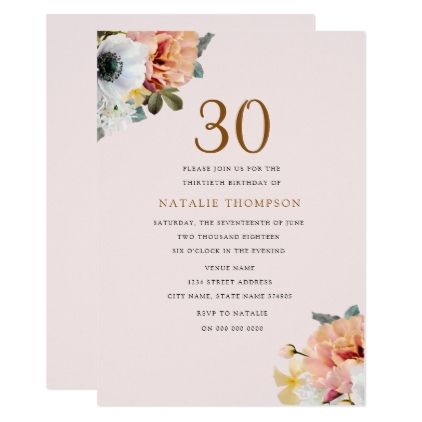 #Vintage Rustic Peach Floral 30th Birthday Invite - #birthdayinvitation #birthday #party #invitation #cool #parties #invitations