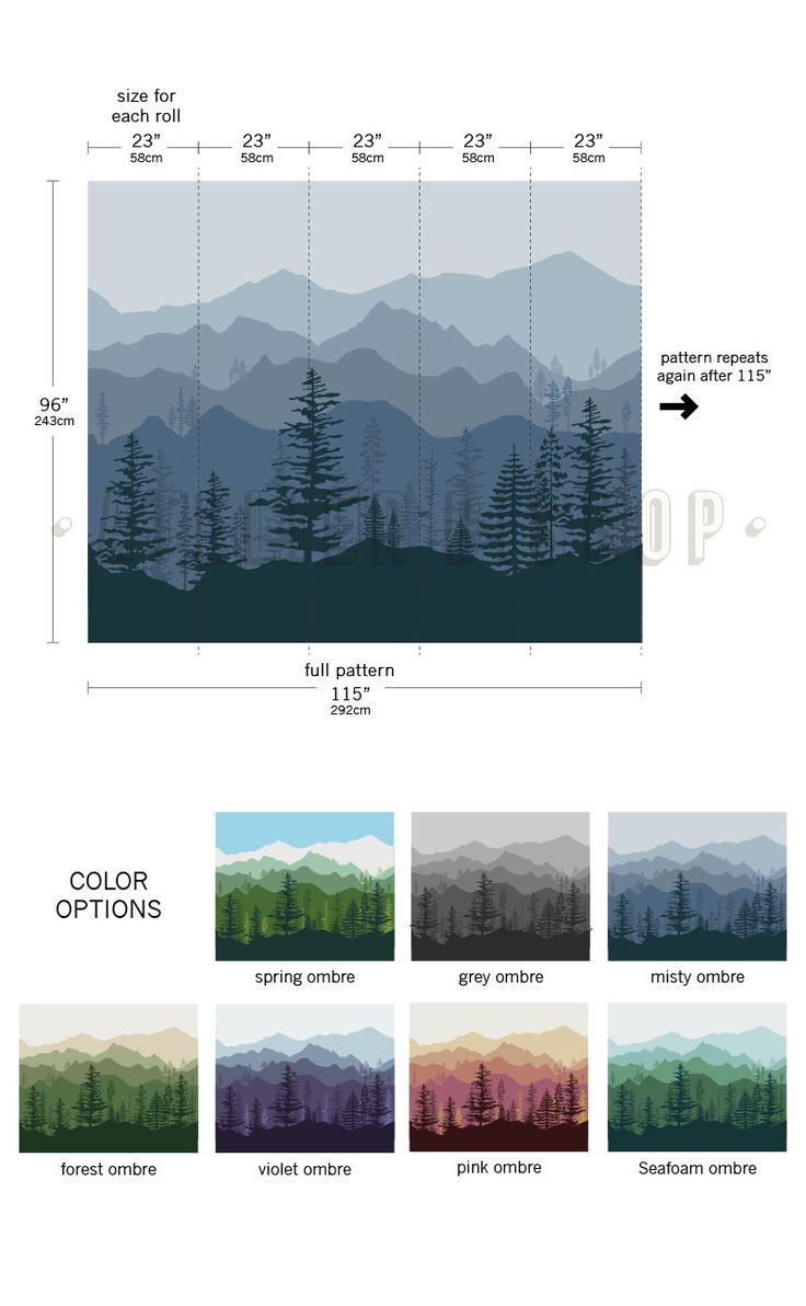 Peel & stick removable wallpaper Ombre gradient mountain pine tree forest scenery wall decal sticker mural