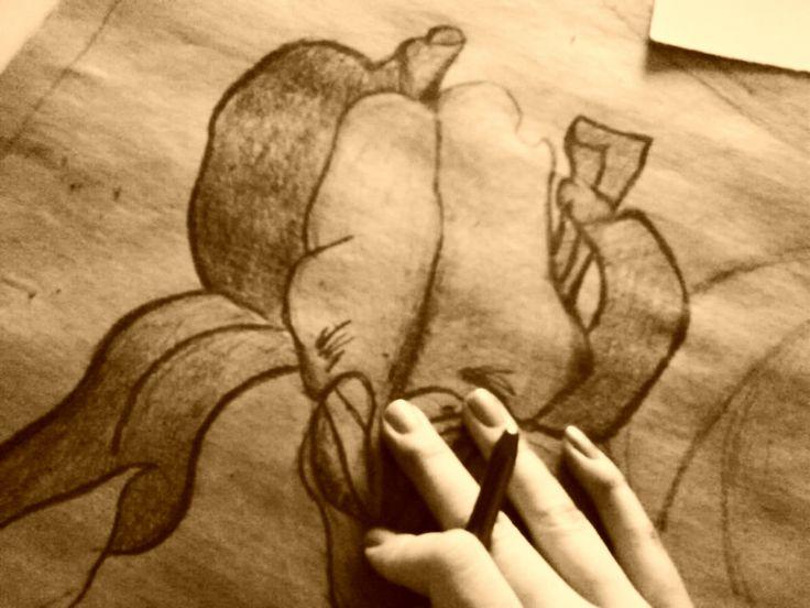 Flower drawing Alfons Mucha