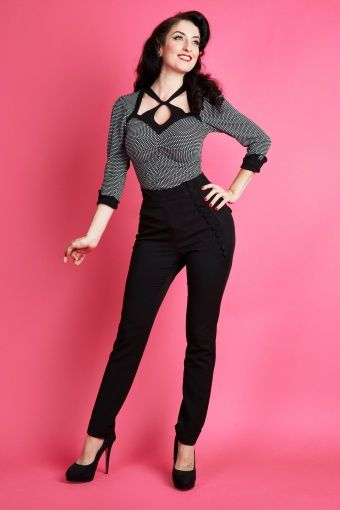 50s Nicola High Waisted Stretch Pants in Black