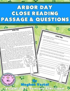 Arbor Day Close Reading Passage & Questions is a great activity to use during your language arts class around Arbor Day.  This one-page passage includes information about how Arbor Day was started, how Arbor Day has changed throughout the years, and how Arbor Day is celebrated today.
