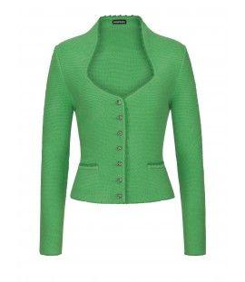 Damen-Strick-Jacke mit Stehkragen grün FANNY von Daniel Fendler Trachtencouture