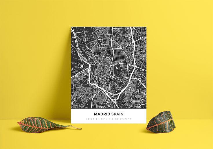 Premium Map Poster of Madrid Spain - Simple Contrast - Unframed - Madrid Map Art